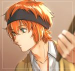 1boy bangs border brown_background cardigan clenched_hand drumsticks eyebrows_visible_through_hair green_eyes hair_between_eyes highres holding idolmaster idolmaster_side-m looking_down male_focus orange_hair pursed_lips saya_(endowsaya) simple_background solo sweatband upper_body wakazato_haruna white_border