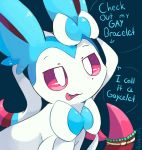 artist_name bead_bracelet beads blue_background bow bracelet commentary english eye_reflection fang highres jewelry no_humans pokemon pokemon_(creature) prehensile_ribbon purpleninfy red_eyes red_sclera reflection ribbon shiny_pokemon simple_background sky speech_bubble star_(sky) starry_sky sylveon