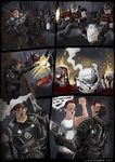 alien armor blood clothing comic crossover death dialog english_text gears_of_war glass gore gun hank_hill human king_of_the_hill male mammal marcus_fenix night propane_tank ranged_weapon shadman smile text therealshadman video_games weapon