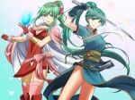 >:) 2girls :d aqua_background aqua_dress aqua_eyes aqua_hair arm_up bare_legs black_choker black_gloves boots bow bracer breasts bug butterfly cape chiki choker circlet cleavage closed_mouth dress eyebrows_visible_through_hair eyes_visible_through_hair feet_out_of_frame female fire_emblem fire_emblem:_kakusei fire_emblem:_monshou_no_nazo fire_emblem:_rekka_no_ken fire_emblem_heroes floating_hair garter_straps gem gloves gradient gradient_background green_hair hair_between_eyes hair_ornament hands_up happy headpiece high_ponytail highres holding holding_gem holding_sword holding_weapon insect jewelry kakiko210 kakiko228 katana large_breasts legs light_particles long_dress long_hair looking_at_viewer lyndis_(fire_emblem) mamkute medium_breasts multiple_girls neck nintendo older open_mouth pelvic_curtain pink_bow pink_cape pink_dress pink_legwear pointy_ears ponytail red_dress red_footwear red_gloves short_dress short_sleeves side-by-side side_slit sidelocks sleeveless sleeveless_dress smile standing stone super_smash_bros. super_smash_bros._ultimate sword thighhighs tiara very_long_hair weapon white_cape wind wind_lift