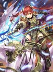 1girl action armor armored_boots black_legwear boots breastplate feathers fire fire_emblem fire_emblem:_kakusei fire_emblem_cipher full_body hmk84 lance long_hair nintendo official_art open_mouth pegasus pegasus_knight polearm red_eyes red_hair selena_(fire_emblem) solo thighhighs twintails watermark weapon zettai_ryouiki