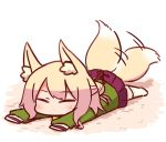 afterimage animal_ear_fluff animal_ears bangs blonde_hair blush closed_eyes eyebrows_visible_through_hair eyes_closed facing_viewer fox_ears fox_girl fox_tail full_body green_shirt hair_bun hair_ornament kemomimi-chan_(naga_u) long_hair long_sleeves lying naga_u no_shoes on_stomach original pleated_skirt purple_skirt ribbon-trimmed_legwear ribbon_trim shirt sidelocks skirt sleeves_past_fingers sleeves_past_wrists solo tail tail_raised tail_wagging thighhighs white_background white_legwear