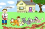 black_eyes blood brown_hair canine cat clothing dog fæces feces feline garfield garfield_(series) garfield_cat gore group hair human jon_arbuckle looking_at_viewer male mammal ms_paint nermal odie raised_tail scat smile tom tom_(tom_&_jerry) tom_and_jerry what
