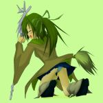 1girl azukilib bangs between_legs black_footwear blue_panties blue_skirt blush breasts brown_coat coat embarrassed eyes_closed female from_behind full_body green_background green_hair green_ribbon grey_legwear hair_ribbon hand_between_legs hand_up have_to_pee holding holding_staff kneehighs kneeling long_sleeves miniskirt open_mouth panties peeing peeing_self pleated_skirt puddle ribbon shoes sideways_mouth simple_background skirt small_breasts solo staff tears tied_hair twintails underwear upskirt wet wet_clothes wet_panties wynn yu-gi-oh!