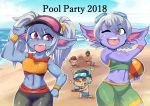3boys ball beach beachball blue_skin collarbone eyebrows_visible_through_hair fang fluffy_ears goggles goggles_on_head league_of_legends long_hair looking_at_another midriff multiple_boys multiple_girls navel ocean one_eye_closed open_mouth pointy_ears poppy purple_eyes purple_skin short_hair shorts silver_hair sky sleeveless smile standing sweatband teemo tongue tristana twintails upper_teeth visor_cap yellow_eyes yordle zei-minarai