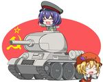 2girls aki_minoriko blonde_hair caterpillar_tracks chibi closed_eyes communism dress dress_shirt eyes_closed food fruit grapes hammer_and_sickle hat jacket lavender_hair letty_whiterock long_sleeves military military_vehicle multiple_girls nikonikosiro open_mouth peaked_cap scarf shirt short_hair soviet soviet_union t-34 t-34/85 tank tears touhou ussr vehicle