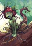 1girl breasts fang female green_skin monster_girl nude original outdoors plant_girl red_hair ruu_bot small_breasts solo tongue tongue_out tree v_arms yellow_eyes