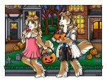building candy canid canine canis collie domestic_dog food fruit grass halloween holidays house kalika-tybera mammal pumpkin tree