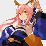 55level absurdres animal_ear_fluff animal_ears armpits blue_kimono breasts detached_sleeves fate/extra fate_(series) fox_ears fox_girl fox_shadow_puppet highres japanese_clothes kimono large_breasts obi pink_hair sash smile tamamo_(fate)_(all) tamamo_no_mae_(fate) upper_body yellow_eyes