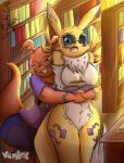 2019 anthro black_sclera blue_eyes blush breasts clothing data_(wouhlven) digimon digimon_(species) duo eyes_closed eyewear featureless_breasts featureless_crotch glasses guilmon hug hugging_from_behind inside library navel neck_tuft open_mouth renamon scalie shirt shorts standing surprise thigh_gap tuft video_games viejillox viejillox64art wide_eyed