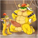 3_toes aaron_(artist) age_difference anthro ball_gag balls barefoot bdsm beige_skin biceps big big_balls big_muscles big_penis black_eyes bondage bound bowser bowser_jr bowser_jr. brush butt chain chubby claws collar cum cum_on_floor cum_on_penis cum_string dragon drooling dungeon duo erection father gag gay grasp green_skin hair happy hi_res horn humanoid_penis incest insertion inside invalid_tag king kneeling koopa lizard looking_down looking_up male manly mario_bros musclegut muscles nintendo nipples nude object_in_mouth on_floor open_mouth orgasm paintbrush parent pecs penetration penis pink_penis pink_skin ponytail prince raised_arm red_eyes red_hair reptile room rope royalty saliva scalie sex shadow sharp-teeth sharp_teeth shell shiny short_hair size_difference smile son sounding spikes spread_legs spreading standing teeth thick thick_penis toe_claws tongue turtle uncut urethral urethral_penetration video_games wood yellow_skin young