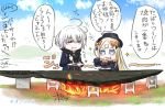2girls :t abigail_williams_(fate/grand_order) bangs black_bow black_dress black_hat blonde_hair blue_eyes blue_jacket blue_sky blush bow breasts closed_mouth cloud cloudy_sky commentary_request crossed_bandaids day dress eating fate/grand_order fate_(series) fire food fork hair_bow hat highres holding holding_fork holding_plate jacket jeanne_d'arc_(alter)_(fate) jeanne_d'arc_(fate)_(all) long_hair long_sleeves medium_breasts multiple_girls neon-tetora open_clothes open_jacket orange_bow outdoors parted_bangs plate sky sleeves_past_fingers sleeves_past_wrists sparkle translation_request v-shaped_eyebrows very_long_hair wavy_mouth wicked_dragon_witch_ver._shinjuku_1999