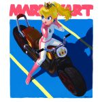 1girl ayumi_(830890) bangs blonde_hair blue_eyes boots breasts brooch copyright_name crown earrings full_body gloves ground_vehicle hair_between_eyes hands_up highres jewelry lips long_hair mario_(series) mario_kart motor_vehicle motorcycle nintendo pink_footwear pink_gloves pink_lips ponytail princess_peach shadow signature sitting small_breasts solo