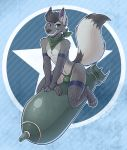 anthro arched_back arctic_fox arm_support armwear bandanna big_ears brown_eyes brown_fur brown_hair bulge camouflage_print canid canine claws clothed clothing ear_piercing fishnet fishnet_armwear fishnet_legwear flak fluffy fluffy_tail fox fur hair highleg highleg_speedo leaning leaning_forward legwear long_tail looking_at_viewer male mammal melangetic missile multicolored_fur phallic piercing sitting solo speedo straddling suggestive swimsuit topless two_tone_fur wide_hips