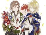 3boys aglovale_(granblue_fantasy) blonde_hair blush brothers brown_hair child eyes_closed flower granblue_fantasy lamorak_(granblue_fantasy) long_hair looking_at_another male_focus multiple_boys percival_(granblue_fantasy) red_eyes red_hair siblings smile suou younger