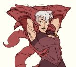 animal_humanoid arachnid arachnid_humanoid arthropod arthropod_humanoid breasts female hair hi_res humanoid needmorekimchi pincers princesses_of_power red_tail scorpia_(she-ra) scorpion scorpion_humanoid simple_background solo stretching white_background white_hair