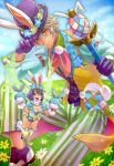 animal_ears aqua_eyes arm_belt breasts brown_hair bunny_ears bunny_tail chains cleavage collared_shirt commentary_request ear_piercing easter_egg echo_(mff) egg fairy fairy_wings final_fantasy flower flying gloves green_wings grey_hair hand_puppet hat hat_tip head_wreath lapel_flower meadow mobius_final_fantasy multicolored multicolored_clothes multicolored_hair open_mouth payu_(pyms11) piercing pixie puppet purple_footwear purple_gloves purple_hair purple_hat shirt short_hair small_breasts smile sparkle striped striped_legwear tail thighhighs top_hat two-tone_hair vest wand wings wol yellow_eyes