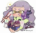 1boy 2girls ? aqua_eyes bowl chopsticks closed_mouth domino_mask headgear heart holding holding_bowl holding_chopsticks inkling kirikuchi_riku long_sleeves mask mohawk multiple_girls octarian octoling open_mouth pink_eyes purple_hair short_hair smile speech_bubble splatoon splatoon_(series) splatoon_2 spoken_heart spoken_question_mark spoken_sweatdrop squidbeak_splatoon suction_cups sweatdrop tentacle_hair tongue tongue_out yellow_eyes