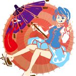 1girl ;p blue_hair blue_skirt frilled_collar geta huge_tongue juliet_sleeves justin_hsu karakasa_obake legs long_sleeves oriental_umbrella puffy_sleeves red_eyes round_image shirt short_hair simple_background skirt solo symbol tatara_kogasa tongue tongue_out touhou umbrella v vest wink
