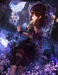 1girl bonnet bow brown_eyes brown_hair clock clock_tower dress frilled_dress frills garters jname lace lamppost lantern light_particles moon night original see-through tower umbrella