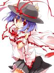 1girl _sleeves capelet frills hat nagae_iku purple_hair red_eyes ribbon sala_mander shawl shirt short short_hair skirt smile solo touhou