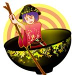 1girl blush bowl bowl_hat concentric_circles grass holding in_bowl in_container japanese_clothes justin_hsu kimono leaf minigirl needle obi open_mouth patterned purple_eyes purple_hair round_image rowing short_hair simple_background solo sukuna_shinmyoumaru touhou twig