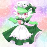 1girl apron artist_request blush bow dress gardevoir hat highres nintendo no_humans open_mouth pink_eyes pokemon pokemon_(game) renge-kemo smile solo sparkle