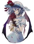 1girl arm_garter bangs bat_wings blue_hair bouquet collar floating_hair flower frilled_collar frills hat hat_flower hat_ribbon holding holding_bouquet looking_at_viewer nail_polish petals pointy_ears puffy_short_sleeves puffy_sleeves red_eyes red_flower red_ribbon red_rose remilia_scarlet ribbon rose shirt short_hair short_sleeves sidelocks simple_background skirt skirt_set smirk solo tian_(my_dear) touhou white_background white_shirt white_skirt wings wrist_cuffs yellow_ribbon
