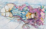 bdsm bondage breasts brown_eyes cleavage cleave_gag colored_pencil_(medium) dress gag gagged hat highres large_breasts lying nichibotsu_(kitaziman) panties patchouli_knowledge pee peeing peeing_self purple_hair sweat tears thighhighs thighs tied tied_up torn_clothes torn_thighhighs touhou traditional_media underwear white_legwear