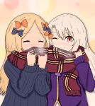 2girls ;) abigail_williams_(fate/grand_order) atsumisu bangs black_bow black_dress blonde_hair blush bow breath commentary_request covered_mouth dress eyebrows_visible_through_hair eyes_closed fate/grand_order fate/kaleid_liner_prisma_illya fate_(series) fringe_trim hair_between_eyes hair_bow hands_up highres illyasviel_von_einzbern jacket long_hair long_sleeves multiple_girls no_hat no_headwear nose_blush one_eye_closed orange_bow plaid plaid_scarf polka_dot polka_dot_bow purple_jacket red_eyes red_scarf scarf shared_scarf smile upper_body very_long_hair