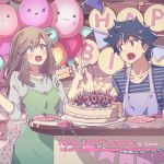 1boy 1girl :3 :o apron balloon black_hair blue_eyes brown_eyes brown_hair cake candle copyright_name feeding food fork fruit happy_birthday highres indoors kagawa_yuusaku long_hair now_and_forever official_art shirt slice_of_cake smile spiked_hair strawberry striped striped_shirt stuffed_animal stuffed_toy sweatdrop table watermark web_address