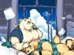 2018 anthro butt canine cusith dog duo eyewear fur glasses humanoid_hands male mammal moobs overweight overweight_male polar_bear rave_(tas) scarf tokyo_afterschool_summoners ursine white_fur yellow_fur yuuya333