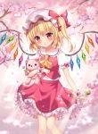 1girl :o ascot blonde_hair blush bow cherry_blossoms commentary crystal dango flandre_scarlet flower food frilled_shirt_collar frilled_sleeves frills hair_bow hat holding holding_food holding_stuffed_animal looking_at_viewer mayo_(miyusa) medium_hair mob_cap one_side_up parted_lips petticoat puffy_short_sleeves puffy_sleeves red_bow red_eyes red_skirt red_vest sanshoku_dango shirt short_sleeves skirt skirt_set solo standing stuffed_animal stuffed_toy teddy_bear touhou tree_branch vest wagashi white_shirt wings wrist_cuffs yellow_neckwear