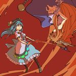 battle blue_hair boots duel hat highres hinanawi_tenshi horns ibuki_suika multiple_girls oni orange_hair red_eyes scarlet_weather_rhapsody sword sword_of_hisou touhou uewtsol upside-down weapon