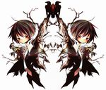 akisame_kou bad_id bad_pixiv_id bird brown_hair chibi copyright_request highres male_focus necktie red_eyes