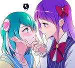 ! 2girls aqua_eyes aqua_hair bangs blue_eyes blush bow closed_mouth eye_contact eyebrows_visible_through_hair hagoromo_lala hair_bow heart kaguya_madoka long_hair looking_at_another multiple_girls negom precure purple_hair red_bow short_hair simple_background smile spoken_exclamation_mark star_twinkle_precure upper_body white_background yuri