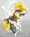 1boy 1girl 7:24 ^_^ blonde_hair checkered checkered_background closed_eyes detached_sleeves eyes_closed facing_away full_body grey_background hair_ribbon hands_on_another's_back highres hug kagamine_len kagamine_rin liquid rainbow ribbon sailor_collar shirt short_hair shorts simple_background stain teeth vocaloid white_ribbon white_shirt