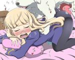 1girl all_fours bed bestiality blonde_hair blush crab_club dog doggystyle eyes_closed glasses heart long_hair open_mouth pantyhose penis perrine_h_clostermann pillow sex solo strike_witches