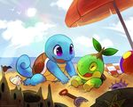 beach haychel nintendo outside pokémon sand sand_castle sculpture seaside shovel squirtle sun turtwig video_games