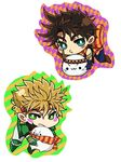 2boys bad_boy blonde_hair blue_eyes brown_hair caesar_anthonio_zeppeli chibi green_eyes head_wings highres jojo_no_kimyou_na_bouken joseph_joestar_(young) multiple_boys scarf