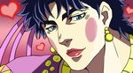 1boy bad_boy blue_eyes blue_hair crossdressing fake_screenshot heart jojo_no_kimyou_na_bouken jonathan_joestar lipstick makeup parody solo