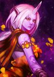 1girl armlet cape danann horn league_of_legends long_hair looking_at_viewer pointy_ears ponytail purple_skin silver_hair solo soraka yellow_eyes