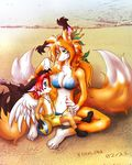 anthro beach bikini blue_eyes breasts canine clothed clothing cute detailed_background duo eye_contact female fox foxlau fur green_eyes hair jewelry male mammal mother navel out_doors outside parent seaside size_difference skimpy smile son swimsuit wings young