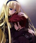 1boy 1girl belt blonde_hair blue_eyes breast_smother breasts carnelian comforting couple hairband hand_on_head hug irisdina_bernhard large_breasts long_hair messy_hair military military_uniform muvluv red_hair scan scan_artifacts schwarzesmarken short_hair tears theodor_edelbach uniform