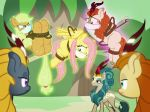 2018 angry applejack_(mlp) autumn_blaze_(mlp) bdsm bondage bound cloth cloth_gag damsel_in_distress domination equine female female_domination fluttershy_(mlp) friendship_is_magic gag group hands_behind_back horse kirin levitation magic mammal my_little_pony pegasus pony queen_rain_shine_(mlp) radiantrealm rope rope_bondage telekinesis wings