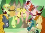2018 angry applejack_(mlp) autumn_blaze_(mlp) bdsm bondage bound damsel_in_distress domination equine female female_domination fluttershy_(mlp) friendship_is_magic gag group hands_behind_back horse kirin levitation magic mammal my_little_pony pegasus pony queen_rain_shine_(mlp) radiantrealm rope rope_bondage tape telekinesis wings