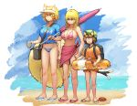 3girls absurdres animal_ears arms_at_sides backpack bag beach beach_umbrella bikini black_eyes blonde_hair blue_bikini blue_bikini_bottom blue_shirt blue_sky breasts brown_hair cat_ears cat_tail chanta_(ayatakaoisii) chen clenched_hand cloud competition_swimsuit crab day drink earrings expressionless flat_chest fox_tail green_hat hat highres hips holding_drink horizon innertube jewelry knees large_breasts legs looking_afar multiple_girls multiple_tails ocean one-piece_swimsuit orange_shirt pink_bikini pink_bikini_top pink_sarong purple_umbrella sandals shiny shiny_hair shirt short_sleeves sidelocks sky slit_pupils standing stomach summer sunglasses sweatdrop swimsuit tail thighs touhou two_tails umbrella visor_cap wavy_hair yakumo_ran yakumo_yukari yellow_eyes