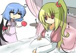 2girls ahoge apple blonde_hair blue_hair chibi commentary_request eyes_closed flandre_scarlet flat_gaze food fruit gomasamune jewelry multiple_girls pendant pillow pregnant red_eyes remilia_scarlet side_ponytail touhou wings