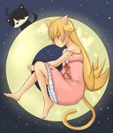 1boy 1girl animal_ears araragi_koyomi barefoot blonde_hair blush_stickers bubinoana cat_ears cat_tail dress highres long_hair monogatari_(series) oshino_shinobu pointy_ears strap_slip tail yellow_eyes