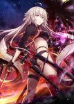 1girl ahoge ass bangs bikini black_bikini black_fire black_gloves black_jacket blush breasts choker cloud energy eyebrows_visible_through_hair fate/grand_order fate_(series) fire floating_hair full_moon gabiran gloves hair_between_eyes holding holding_sword holding_weapon jacket jeanne_d'arc_(alter_swimsuit_berserker) jeanne_d'arc_(fate)_(all) katana large_breasts long_hair looking_at_viewer looking_back moon multicolored multicolored_sky multiple_swords night o-ring o-ring_bikini orange_sky outdoors palm_tree red_legwear sheath sheathed shrug_(clothing) sidelocks silver_hair single_thighhigh sky solo star_(sky) starry_sky sunset swimsuit sword thighhighs tree very_long_hair weapon white_hair yellow_eyes